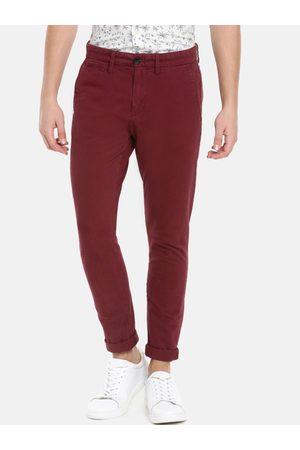 Celio Men Maroon Skinny Fit Solid Regular Trousers