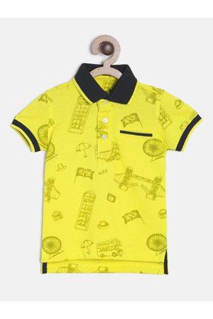 Palm Tree Boys Yellow Printed Polo Collar T-shirt