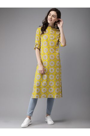 Anouk Women Mustard Yellow & Beige Printed A-Line Kurta