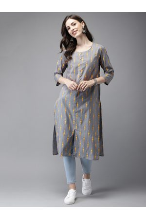 Anouk Women Grey & Yellow Printed Straight Kurta