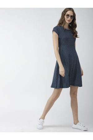 Mast & Harbour Women Navy Blue & White Printed Knitted A-Line Dress