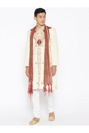 SG LEMAN Men Cream-Coloured & Off-White Embellished Sherwani