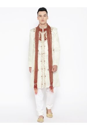 SG LEMAN Men Cream-Coloured & White Self-Design Sherwani