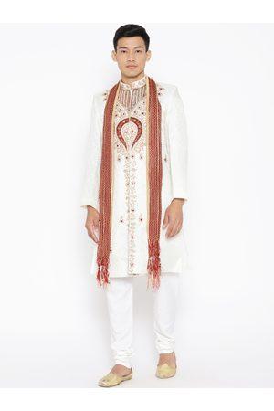 SG LEMAN Men Sherwanis - Men Off-White & Maroon Embellished Sherwani