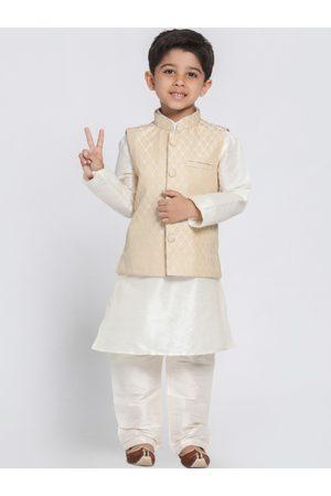 Vastramay Boys Cream-Coloured Self Design Kurta with Churidar