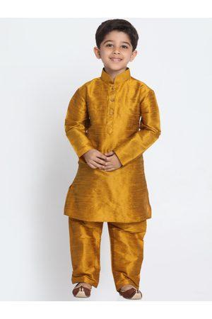 Vastramay Boys Mustard Yellow Solid Kurta with Churidar
