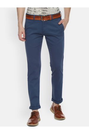 Allen Solly Men Blue Slim Fit Self Design Regular Trousers