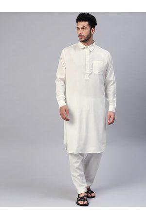 SOJANYA Men Kurtas - Men Off-White Solid Pathani Kurta with Salwar