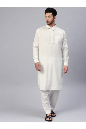 SOJANYA Men Off-White Solid Pathani Kurta with Salwar