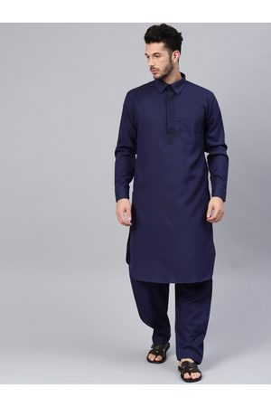 SOJANYA Men Navy Blue Solid Pathani Kurta with Salwar