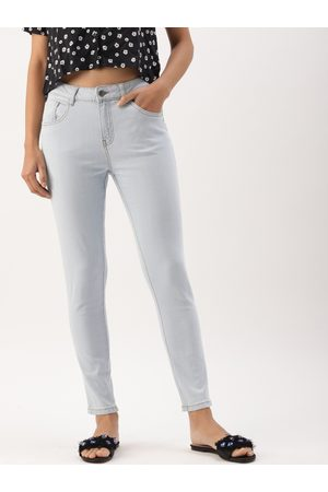 DressBerry Women Blue Skinny Fit Mid-Rise Clean Look Stretchable Cropped Jeans