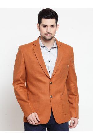 LUXURAZI Men Rust Orange Solid Slim-Fit Single-Breasted Blazer
