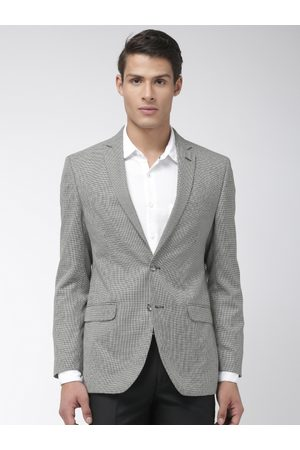 Park Avenue Men Black & White Self-Design Slim Fit Single-Breasted Formal Blazer