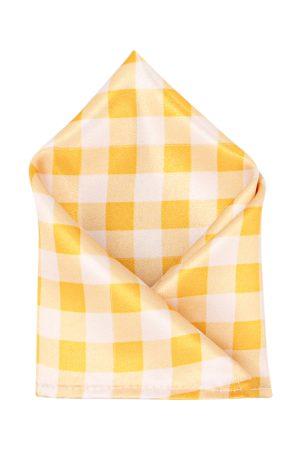 Blacksmith Men Yellow & White Checked Pocket Square