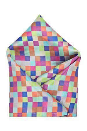 Blacksmith Men Multicoloured Checked Pocket Square