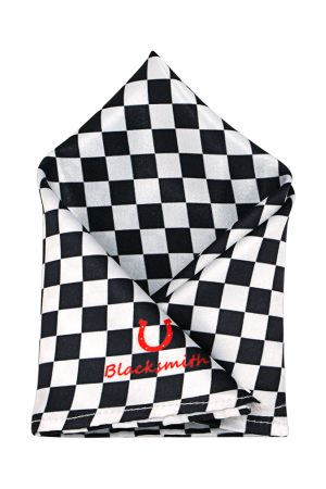 Blacksmith Men Black & White Checked Pocket Square