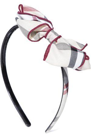PRITA Women Off-White & Black Checked Bow Detail Hairband