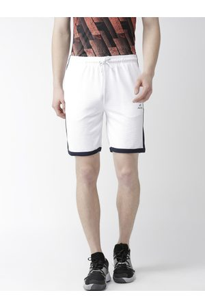 Alcis Men Sports Shorts - Men White Self-Design Slim Fit Training Shorts