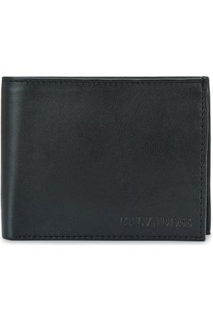 Calvadoss Men Black Textured Leather Two Fold Wallet