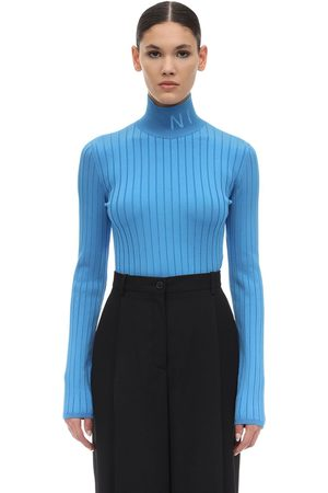 Nina Ricci Women Jumpers - Logo Viscose Knit Turtleneck Sweater
