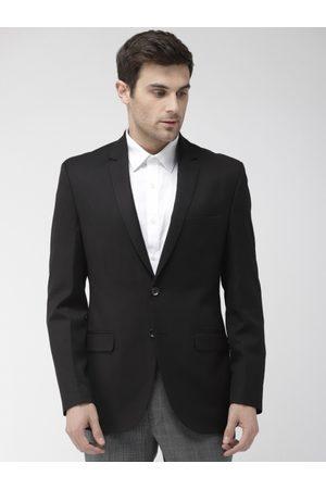 Park Avenue Men Navy Black Solid Single-Breasted Slim Fit Formal Blazer