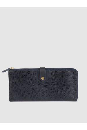 Hidesign Women Blue Textured Zip Around Leather Wallet