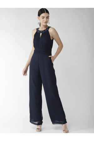 Quiero Women Navy Blue Solid Basic Jumpsuit