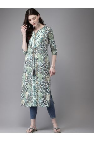 Anouk Women White & Green Printed Straight Kurta