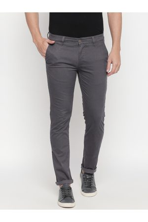 Urban Ranger by pantaloons Men Charcoal Grey Slim Fit Self Design Regular Trousers