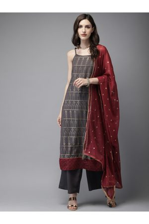 Anouk Women Charcoal Grey & Gold-Toned Printed Kurta with Palazzos & Dupatta