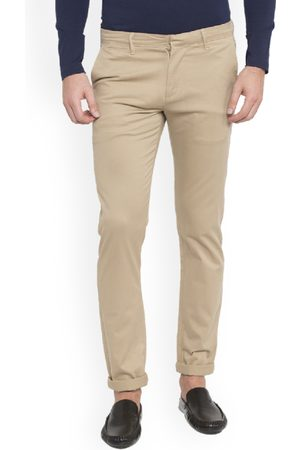 SPYKAR Men Beige Slim Fit Solid Regular Trousers