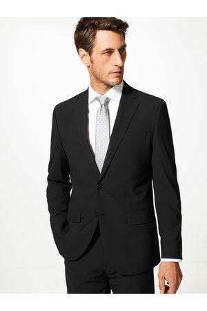 Marks & Spencer Men Black Solid Regular Fit Single-Breasted Blazer