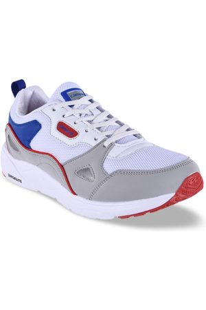 Campus Men White & Grey Colourblocked Mesh WISDOM Running Shoes