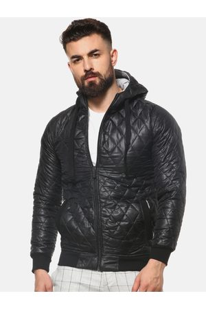 Campus Men Black Solid Lightweight Quilted Jacket
