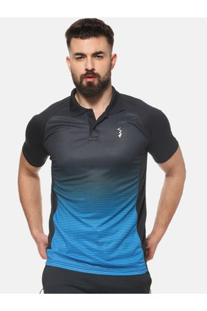 Campus Men Blue Polo Collar T-shirt