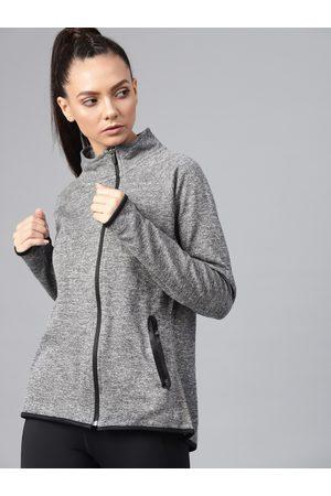HRX Women Charcoal Grey Solid Training Sporty Jacket
