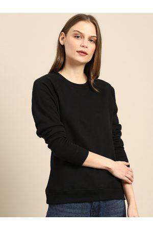 Ether Women Black Solid Sweatshirt