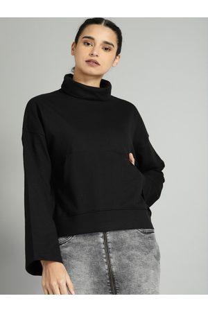 Roadster Women Black Solid Sweatshirt