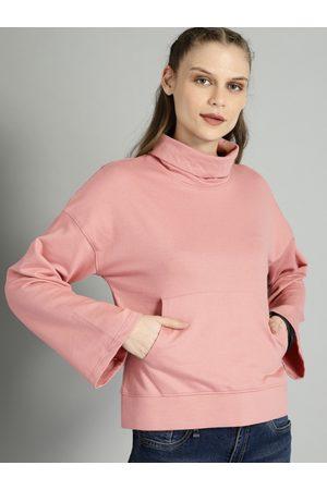 Roadster Women Pink Solid Sweatshirt