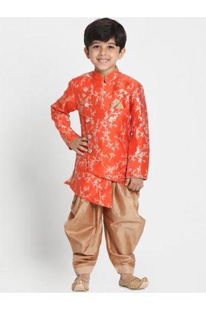 JBN Creation Boys Orange & Gold-Toned Woven Design Sherwani Set