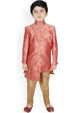 SG YUVRAJ Boys Pink & Brown Silk Woven Design Sherwani Set