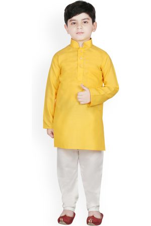 SG YUVRAJ Boys Yellow & Cream-Coloured Solid Kurta with Pyjamas