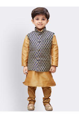 JBN Creation Boys Gold-Coloured & Navy Blue Solid Kurta with Churidar & Nehru Jacket