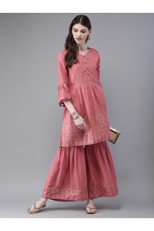 Anouk Women Pink & Golden Printed Kurta with Sharara