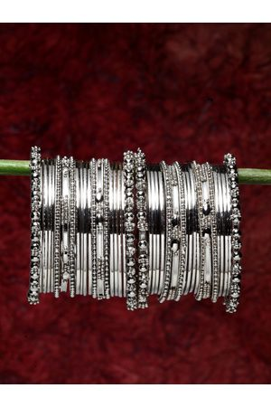 Shining Diva Set of 40 Oxidised Silver Bangles