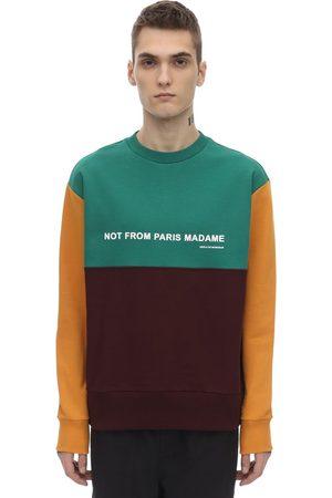 Drôle de Monsieur Men Sweatshirts - Paneled Color Block Slogan Sweatshirt
