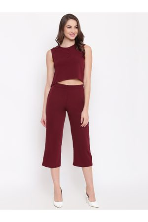 Mayra Women Maroon Solid Top with Capris