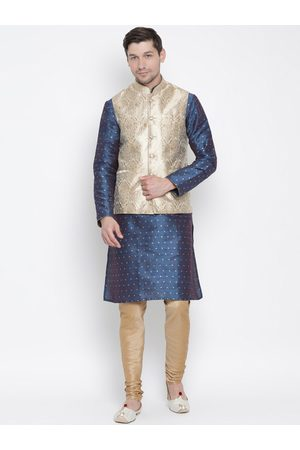 Vastramay Men Blue & Beige Self Design Jacquard Weave Kurta Set