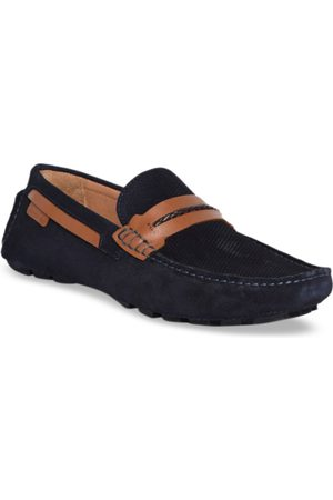 Kenneth Cole Men Navy Blue Textured Leather Driving Shoes