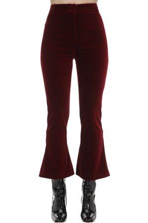 HEBE STUDIO Cropped Charlie Flared Velvet Pants